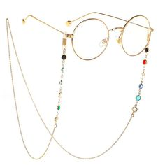 Eyeglass Chains sunglasses Neck strap Cord Beaded reading glasses chain Holder Lanyards Eyewear Retainer for women (GOLD) Round Lens Sunglasses, Sunglasses Women, Sunglasses Holder, Sunglasses Accessories, Fashion Eye Glasses, Accesorios Casual, Girls With Glasses, Girl Glasses, Glasses Style