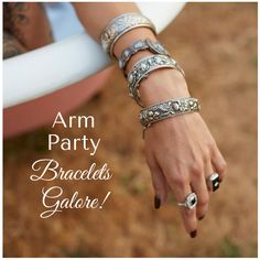 Create your own arm party! Check out the antique bangles and bracelets at isadoras.com!