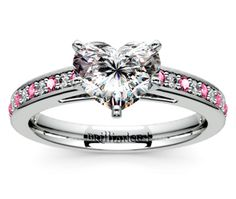Heart Cathedral Diamond & Pink Sapphire Gemstone Engagement Ring in Platinum  http://www.brilliance.com/engagement-rings/cathedral-diamond-pink-sapphire-gemstone-ring-platinum