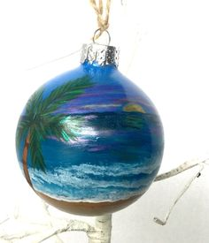 Your place to buy and sell all things handmade Christmas Bulbs, Christmas Decorations, Holiday Decor, Nautical Christmas, Ocean Sunset, Mermaid Art, Beach Themes, Glass Ornaments, Palm Trees