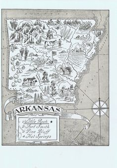 Vintage MAP ARKANSAS, Adorable, Beautifully Illustrated, Whimsical, Fun, Razorbacks, Little Rock, Hot Springs, Clinton, Fort Smith. $14.95, via Etsy.