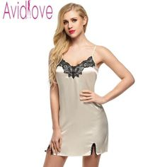 943f898ff3 Avidlove Night Dress Women Sleepwear Nighty Satin Dress Nightgown Lace  Splicing Nightwear Spaghetti Mini Robes vestidos mujer