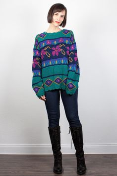 Vintage Chunky Knit Sweater 1980s Teal Green Pink Floral Print 80s Oversized Sweater Jumper Cosby Sweater LL Bean Pullover M Medium L Large by ShopTwitchVintage #vintage #etsy #80s #1980s #sweater #jumper #knit #llbean #cozy