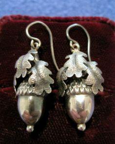 Fabulous Antique Victorian Single Acorn Oak Leaf Sterling Silver Drop Earrings | eBay