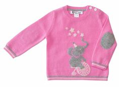baby cashmere sweater with elephant intarsia set of sweater ant pants, pink sweater for girl