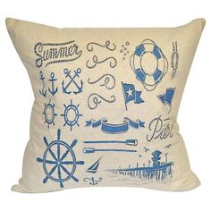 Cotton and linen pillow with a nautical pier motif.      Product: PillowConstruction Material: CottonColor...