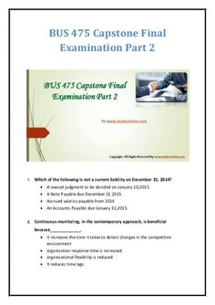 We specialize in providing you with the best sources for completing the University of Phoenix Course BUS 475 Capstone Final Exam Part 2. Achieve excellence with us by getting 100% correct answers from our team of experienced and certified professors