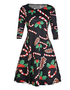 510ea606abb6 Women's Christmas Dress Printed Mini Skater Flared Dresses #christmas #dress  #party Womens Christmas