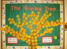 The Giving Tree - interactive counseling bulletin board idea-Tiger Themed for Education Center Guidance Bulletin Boards, Counseling Bulletin Boards, Interactive Bulletin Boards, Counseling Office, Classroom Bulletin Boards, Classroom Activities, Classroom Walls, Classroom Setup, Sunday School Classroom
