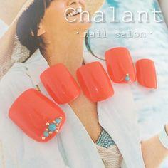 #chalant#シャラン#吉祥寺#ネイルサロン#nail#nails#art#gel#ネイル#ジェル#吉祥寺ネイルサロン#フット#フットジェル#フットネイル#ペディキュア#オレンジ#オレンジフット#ターコイズ#ターコイズネイル#夏ネイル