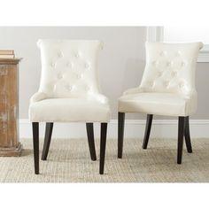 Safavieh En Vogue Dining Bowie Cream Leather Dining Chairs (Set of Beige Off-White Cream Leather Dining Chairs, Tufted Dining Chairs, Tufted Accent Chair, Dining Chair Set, Dining Sets, Lounge Chairs, Accent Chairs, Luxury Dining Room, Modern Chairs