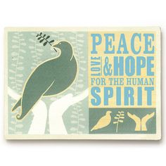 Peace Love And Hope 20x14  by Artehouse