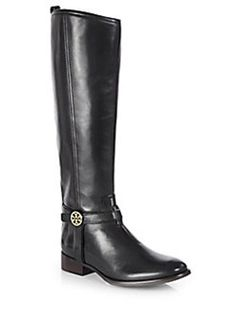 Tory Burch Bristol Leather Knee-High Riding Boots @Victoria Brown Brown McCoy Burch