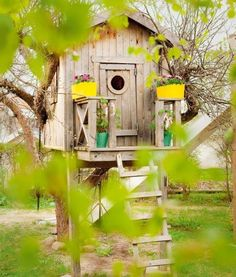 Beautiful tree house for Kids. I like the door.