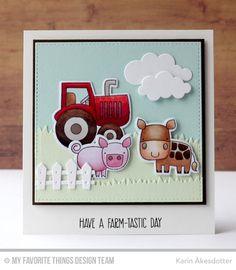 Farm-tastic, Farm-tastic Die-namics, Farm Fence Die-namics, Grassy Hills Die-namics, Puffy Clouds Die-namics, Stitched Square STAX Die-namics - Karin Åkesdotter   #mftstamps