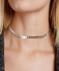 Chevron Metal Choker is a simple versatile chain of chevron Vs. Wear it alone for a simple, chic look. Or layer with longer necklaces for a trendy look. Width: about inch Length: total inches FINAL SALE Trendy Necklaces, Silver Necklaces, Beautiful Necklaces, Silver Jewelry, Silver Ring, Silver Earrings, Choker Necklaces, Custom Jewelry, Handmade Jewelry