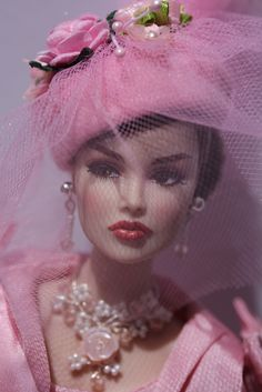 """""""Let's Kiss & Make Up"""" Vanessa modeling """"Paris Luncheon Silkstone Barbie's"""" outfit. Jewelry on Etsy."""