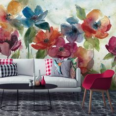 Bring the bright colours, yet delicate watercolor look to your home decor with this cheerful, floral wall mural. Made to fit your dimensions, this floral mural has been created by specialist artist, Carol Robinson. Browse the full range at Wallsauce. Wallpaper Bathroom Walls, Dance Wallpaper, Wall Wallpaper, Decor Interior Design, Interior Decorating, Large Floral Wallpaper, Flower Dance, Room Decor, Wall Decor