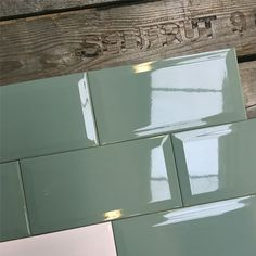 Wandtegel metro 10x20 oud grijs groen glans - voor in de keuken