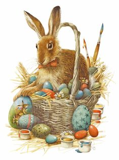 Easter rabbit with basket of eggs Marjolein Bastin Easter Art, Easter Crafts, Easter Eggs, Easter Vintage, Lapin Art, Marjolein Bastin, Diy Ostern, Easter Parade, Bunny Art