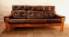 Sofá vintage de tres plazas de piel / Muebles vintage en todocoleccion