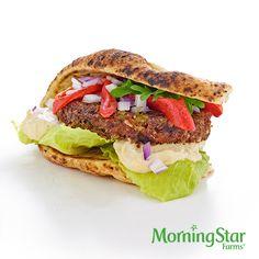 The Mediterranean Quinoa Burger – made with Non-GMO Project Verified MorningStar Farms® Roasted Garlic & Quinoa Burger.