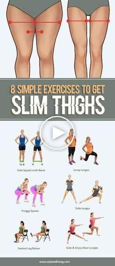 8 exercices simples pour Slim et serré. Cuisses Fitness Workouts, Easy Workouts, Yoga Fitness, Fitness Motivation, Tight Thighs, Slim Thighs, Reduce Thigh Fat, Yoga Training, Squats And Lunges