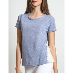 Womens Lightweight Round Neck Short Sleeve Lace Top ($14) ❤ liked on Polyvore featuring tops, t-shirts, blue lace top, short sleeve lace top, short sleeve lace tee, short sleeve summer tops and summer t shirts
