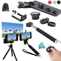 EEEKit 6in1 Kit for iPhone 5S/5C/5/4S Samsung Galaxy S5/S4/S3 Samsung Galaxy Note 3/2 LG G3/G2 HTC One M8/M7 Google Nexus 4/5 Sony Xperia Z1/Z2 Motorala Moto X/G Cell Phone,Extendable Handheld Monopod for Compact Camera + Adjustable Smartphone Adapter Phone Holder + Retractable Rotating Tripod Stand Mount Holder+ WirelessBluetooth Remote Camera Shutter Release Control + Fish Eye Lens + Wide Angle Lens + Macro Lens + EEEKit Pouch (Black) EEEKit ...