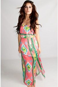 The Sahara Maxi Print Dress In Pink -- La Posh Style - super cute maxi dresses and other clothes!