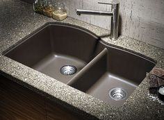 Buy the Blanco 440177 Cafe Brown Direct. Shop for the Blanco 440177 Cafe Brown Diamond Silgranit Granite Composite Undermount Double Bowl Kitchen Sink with Split and save. Black Granite Sink, Granite Kitchen Sinks, Kitchen Ikea, Kitchen Sink Faucets, Kitchen And Bath, Kitchen Cabinets, Granite Countertops, Kitchen Black, Brown Granite