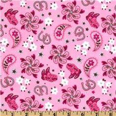 Michael Miller Pink Cowgirl Western Motifs Pink Fabric$8.98@Jordan Hoppes