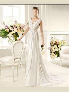 White Column V-Neck Organza Wedding Dress