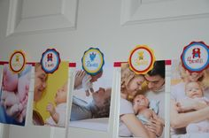 First Year Photo Banner, Monthly Banner, First Birthday Photo Banner, Monster Birthday Party, Red, Blue and yellow