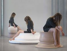 Embracing Touch seats by Marija Puipaitė Lithuanian designer Marija Puipaitė used the curves of her legs in different resting positions to generate the forms of these seats created for her Design Academy Eindhoven graduate project.