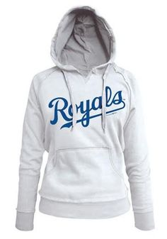 Kansas City Royals Womens Hooded Sweatshirt - White Royals Brushed Fleece Long Sleeve Hoodie http://www.rallyhouse.com/shop/kansas-city-royals-5th-and-ocean-88880130 #54.99