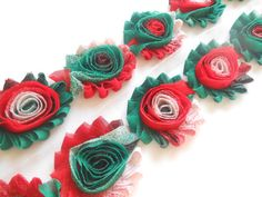 Hot Christmas, Shabby Rose Trim In 1/2 Yard ,1 Yard,shabby Flower Rose…