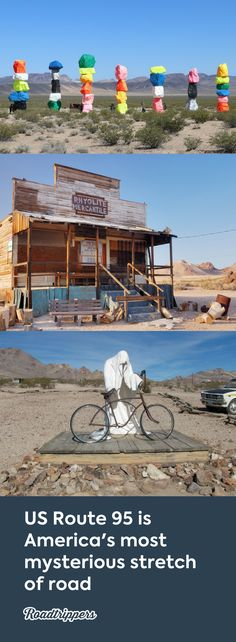 Ghost towns and desert art line the Free Range Art Highway #mysterious #classicdrives #Route95