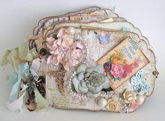 Vintage Flower Garden Shabby Chic Mini Scrapbook Album