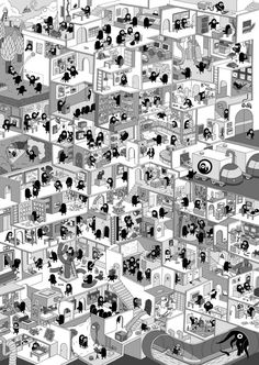 Creative Process Inc. - by Markus Färber, ink on paper & digital, 2007 : Art Net Architecture, Architecture Drawings, Infinity Drawings, Maze Drawing, Graphic Design Illustration, Illustration Art, Section Drawing, Ink Illustrations, Collage Art