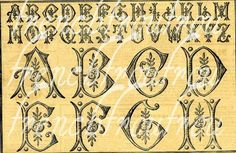 antique art deco alphabet monogram roses by FrenchFrouFrou on Etsy, $4.95