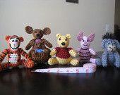 Crochet 6pc Set: Winnie the Pooh Tigger Piglet Eeyore Kanga Roo Miniature Figurine Amigurumi Stuffed Animals Toys Dolls Baby MADE TO ORDER #EasyPin
