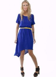 Blue Asymmetrical Dress with Cutout Sleeves Detail,  Dress, high-low  cutout dress, Chic