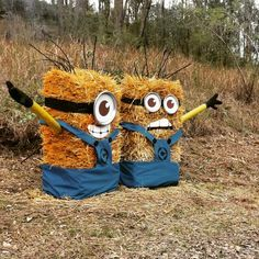 12 Creative Ideas For Your New Scarecrow Minion Halloween, Holidays Halloween, Halloween Crafts, Halloween Decorations, Halloween Graveyard, Halloween 2019, Hay Bale Decorations, Growing Ginger Indoors, Make A Scarecrow