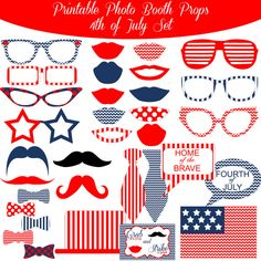 4th of July Independence Day Printable Photo Booth Photobooth Props