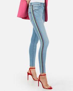96b7ca4c978d2b High Waisted Side Stripe Denim Perfect Ankle Leggings Denim Leggings,  Jeggings, Express Jeans,