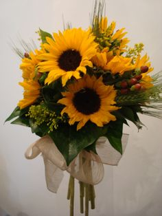 Cheerful Helianthus, Hypericum & Solidago, interspersed with some ears of wheat. Wedding Bouquets, Wedding Flowers, Sunflower Bouquets, Fall Wedding Decorations, Flower Pictures, Floral Arrangements, Our Wedding, Floral Design, Corsages