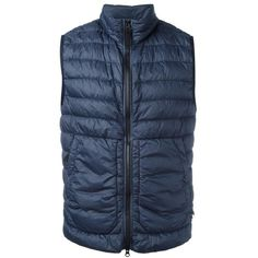 Stone Island High Neck Quilted Gilet ($270) ❤ liked on Polyvore featuring men's fashion, men's clothing, men's outerwear, men's vests, navy, mens quilted vest, mens navy blue vest and mens navy vest