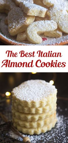 These Italian Almond Cookies are a soft cut out cookie, fast and easy to make. Made with only 6 ingredients they make a nice addition to your Holiday Cookie tray, or bake them any time of the year for a sweet treat. Use flower-shaped cookie cutters for spring and summer! #dessert #almondcookies Creative Desserts, Easy Desserts, Delicious Desserts, Italian Desserts, Yummy Food, Cookie Tray, Shaped Cookie, Cookie Cutters, The Best Monster Cookie Recipe