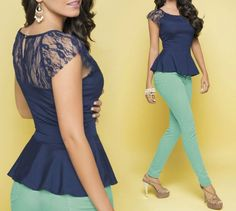 lovely look! navy blue peplum top mint green jeans <3